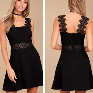Lulu's Black Lace Skater / Fit and Flare Dress